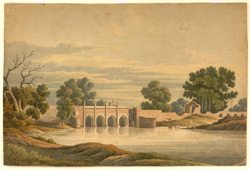 Four-arched bridge across a river, a camel and rider passing over, men washing clothes and cattle drinking